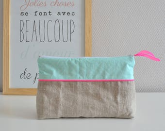 Toiletry bag in cotton and linen / green / neon pink