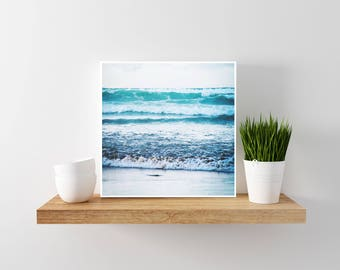 Waves Square, minimal ocean photography. Turquoise & white modern, beach, natural, scandinavian design and decor. Printable download.