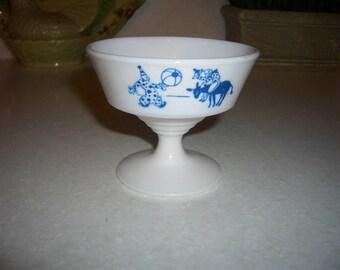 Vintage Hazel Atlas Sherbet Dish...Clowns...Kiddie Ware