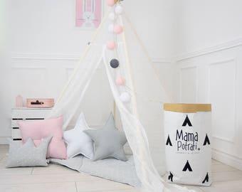 Play Tent, Lace Teepee, Tipi, White Teepee Tent, Teepee Enfant, Child Teepee, Wigwam, Reading Lamp, Nursery Tent, Play Mat, Zelt