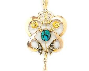 Victorian Art Nouveau 9ct, 9k, 375 Gold Turquoise & Pearl Lavaliere, necklace C1895
