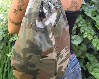 Camouflage Backpack , multi sack bag , tote bag, hipster backpack, Gym bag, used UPcycled backpacks,drawstring backpack,School backpack