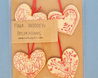 Handprinted Wooden Heart Decorations - pack of four