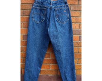 Vintage 80s Chic Mom Jeans, High Waist, Tapered Leg, Preppy, Blue Denim, Casual