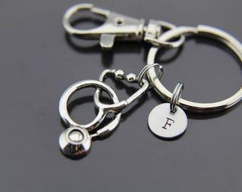 Medical Gift  Doctor Gift Medical Student Gift Nurse Gift  Christmas Gift Stethoscope Keychain Stethoscope Charm Initial Keychain
