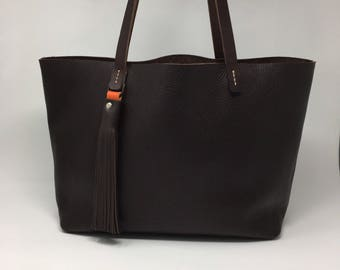 Dark Brown Leather Tote bag. 100% Handmade and ready to ship!