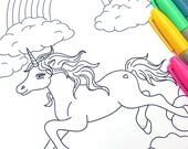 Printable Unicorn Coloring Page- Digital File- Instant Download rainbow, clouds, magical, pegasus, little girl, party favor, activity