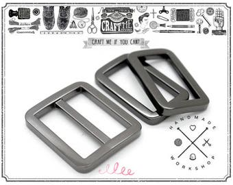 1set Gunmetal  Metal Purse Slider and Loops 1 PC Slide Buckle with 2 PCS Rectangular Rings Leather Craft