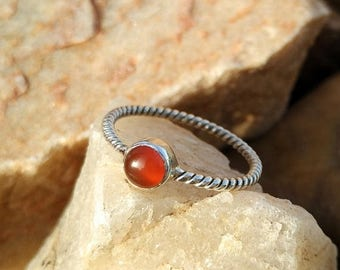 On Sale Natural Carnelian Sterling Silver Twisted Band Handmade Ring - 925 Sterling Silver