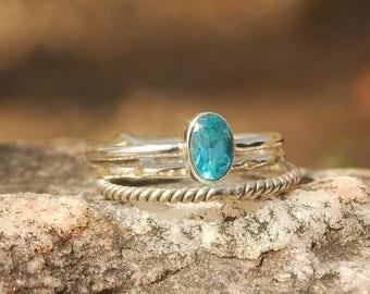 On Sale Natural Sky Blue Topaz Ring - Gemstone Ring - Stacking Ring - Gemstone Jewelry - Handmade Jewelry