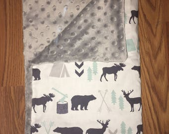 Navy Mint & Gray Wilderness Baby Blanket | Baby Blanket for Boy | Deer | Baby Shower Gift | Minky Baby Blanket | Baby Bedding | Baby Nursery