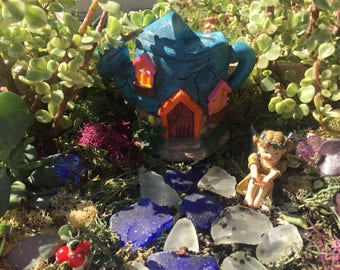 DIY Complete Enchanted Fairy Garden Kit With Watering Can House