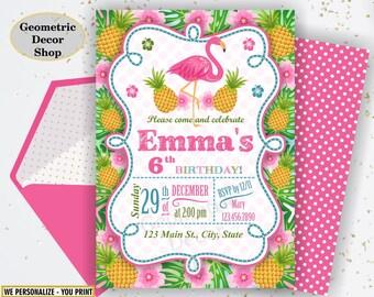 Flamingo Pineapple First Birthday Invitation 1st Any age Birthday invite Printable Luau Hawaiian Party Pink Teal Photo Photograph BDP26