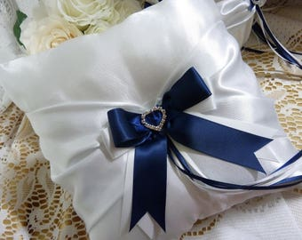 WEDDING RING BEARER pillow white and navy blue satin and ribbon hearts diamante page boy flower girl cushion bride groom