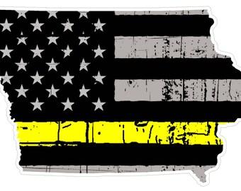 Iowa State (E16) Thin Yellow Line Dispatch Vinyl Decal Sticker Car/Truck Laptop/Netbook Window