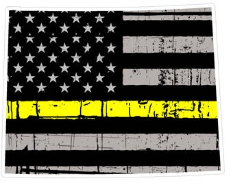 Wyoming State (E50) Thin Yellow Line Dispatch Vinyl Decal Sticker Car/Truck Laptop/Netbook Window