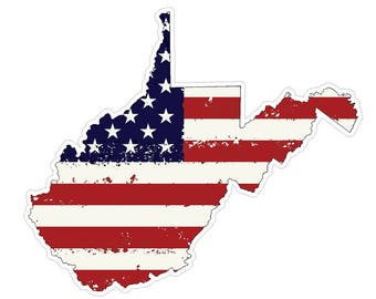 West Virginia State (J48) USA Flag Distressed Vinyl Decal Sticker Car/Truck Laptop/Netbook Window