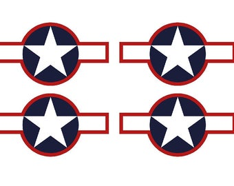 "Set of 4 Remote Control (RC6) Red Blue White Stars and Bar 9"" RC Airplane Sticker Decal"