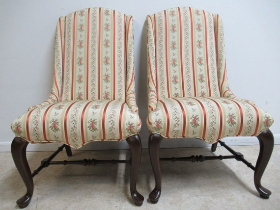 Pair Ethan Allen End of the Table Slipper Dining Hip Rest Chairs