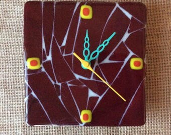 Maroon Shatter Glass Wall Clock