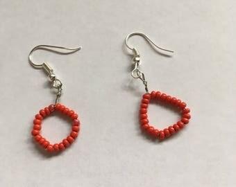 Small Red Bead Hoop dangle earrings