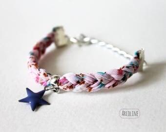 Pink kids bracelet braided fabric ° ° ° star