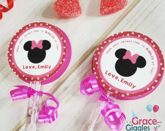 6 Personalized Minnie Mouse Bubble Valentine's Day Favors