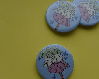 Japanese snacks - Dango Taiyaki Button / Pin Badge