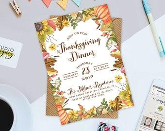 "Thanksgiving Dinner Printable 5"" x 7"" Invitation, Thanksgiving Invitation, Thanksgiving Dinner Party Invitation"