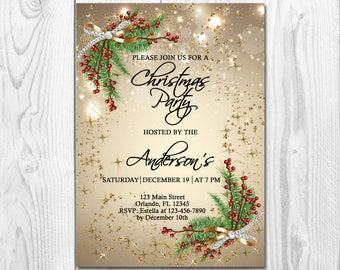 CHRISTMAS PARTY INVITATION, Christmas Party Invite, Holiday Party Invitation, Custom Christmas Invitation, Gold Glitter, Elegant Invite