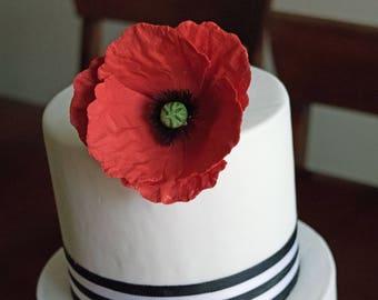Red Poppy Sugar Flower for wedding cake toppers, cake decorations, gumpaste flowers, spring weddings, desert weddings, fondant cake topper
