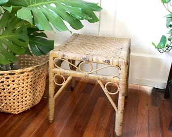 Vintage Wicker Rattan Side Table / Plant Stand / 1940u0027s
