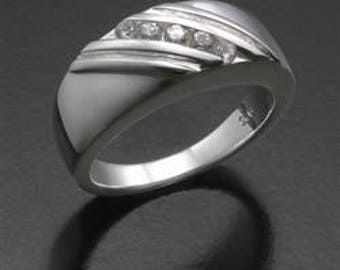 """Cremation Ash Jewelry sterling silver Ladies ring with Cz""""s Pet Memorial YOU FILL"""