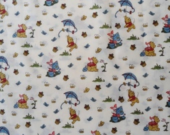 "Pooh's Day in the Park Fabric, Winnie The Pooh Fabric, Pooh Allover Fabric, ""CP34025, 42""L x 42""W,  Pooh and Piglet Allover Fabric, Springs"