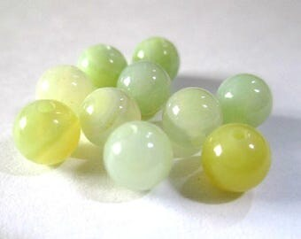 10 striped agate beads shades of yellow and green 6mm