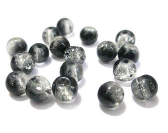 20 black and white 6mm Crackle glass beads