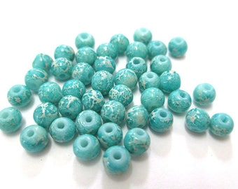20 white marbled blue painted glass 4mm (A-28) beads