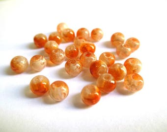 20 transparent beads speckled orange and white 4mm