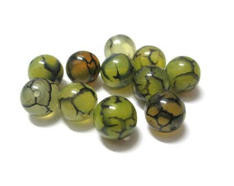 10 pearls 8mm (18 G) green brown color dragon vein agate Crackle