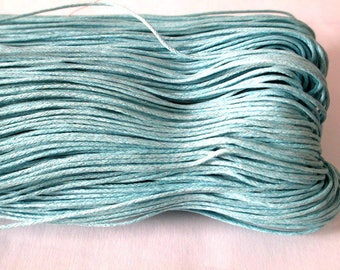 10 meters cotton sky blue waxed thread 1 mm