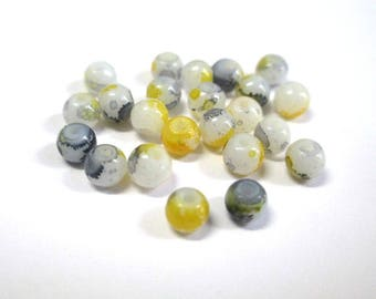 20 speckled yellow and grey 4mm white glass beads