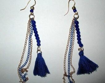 ღ ღ blue and gold earrings / unique Pieces!