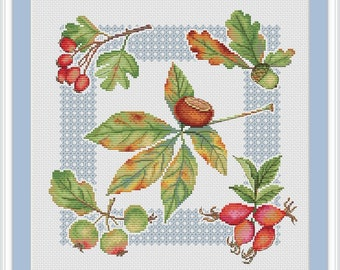 Watercolor autumn sampler cross stitch pattern, cross stitch pattern fall, cross stitch pattern blackwork, cross stitch pattern, PDF