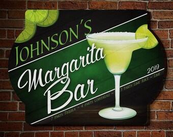 Margarita Bar Personalized Sign - Home Bar Wall Decor for Margarita Lovers - Home Bar signs - Custom signs