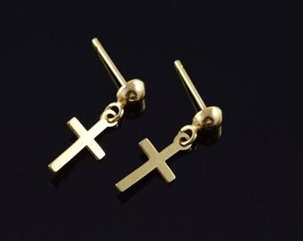 10k Cross Dangle Earrings Gold