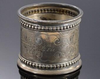 Large Floral Motif Napkin Ring Silver