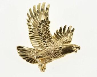 14k Soaring Eagle Diamond Cut Textured Pendant Gold