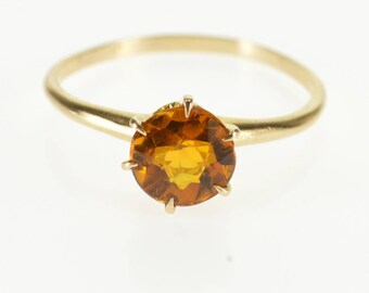 10K Round Brilliant Citrine Solitaire Prong Set Ring Size 4.75 Yellow Gold