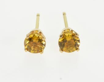 14K Round Citrine Solitaire Post Back Stud Earrings Yellow Gold