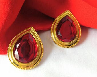 GORGEOUS Large Red and Gold Teardrop Clip On Earrings-Statement-Stone/Jewel-All Orders Only 99c Shipping!